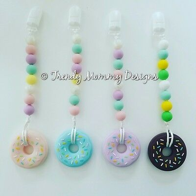 Silicone DONUT Teether Clips for Baby! Teething Baby, Baby Shower!
