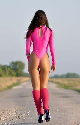 Bright Pink Spandex Sleeved Women's Thong High Collar Gymnastic Leotard Size S