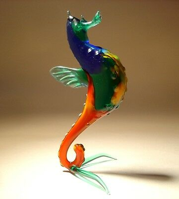 """Blown Glass """"Murano"""" Animal Figurine Blue, Green and Red SEAHORSE"""