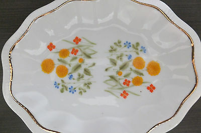 Vintage White Glossy Porcelain Candy Trinket Soap Dish colorful  flowers