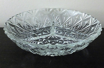 French Vintage Diamond Hobnail divided hors-doeuvre dish