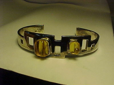 Rare Burle Marx Sterling Cuff With Carved Citrines