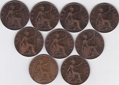 Collection of 9 pennies from King Edward Vll  1901 to 1910