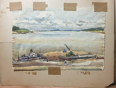 Mystery Signed Black Americana Industrial Folk Art 2 Sided Watercolor Painting