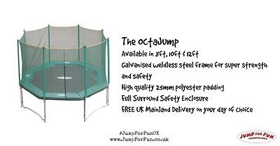 Jump for Fun Octajump 10ft trampoline replacement net/surround with poles NEW