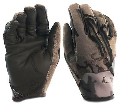 $80 Under Armour Ridge Reaper Trigger Hunting Camo Wool Gloves Leather Palm L