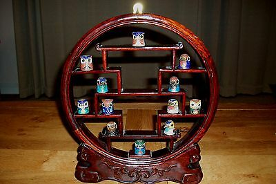 Vintage Chinese Cloisonne Bird Head Thimble Collection (12) + Rosewood Stand