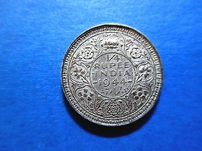 India 1/4 Rupee 1944 Britain U.K Silver About Uncirculated