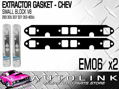 PERMASEAL EM06 EXTRACTOR GASKETS x2 SUIT CHEV SMALL BLOCK SBC V8 283 305 307 327