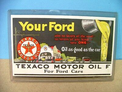 Vintage Very Colorful Texaco Oil Advertising Ink Blotter Great Graphics!