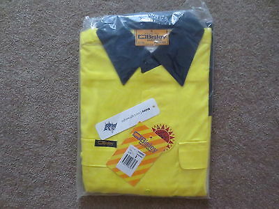 3 x BISLEY Hi Vis Light Weight Cotton Drill Reflective Tape Shirts S Yellow/Navy