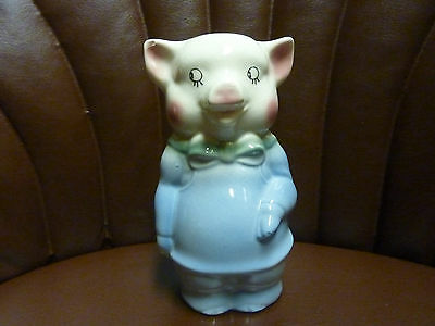 "Vintage Royal Copley 6 1/4"" Blue Ceramic Pig Piggy Bank, Green Bow Tie, So Cute!"