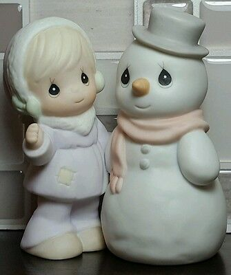 1992 Enesco Precious Moments Sugar Town Girl with Snowman Figurine 529524