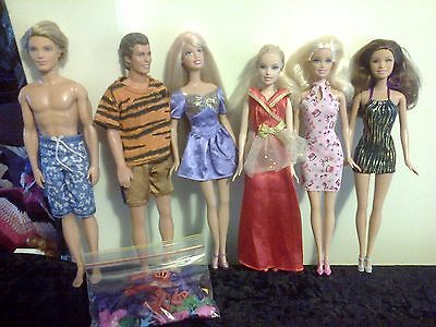 Bundle Of Barbie/ken Dolls (6) With Extra Shoes