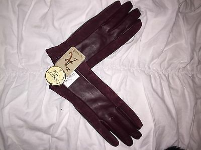 ACCESSORIZE Leather Suede Burgundy Oxblood Gloves Size S NWT Blogger