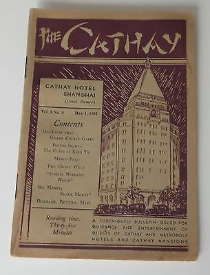 1932 The Cathay Hotel Shanghai China magazine for guests w/ articles ads map