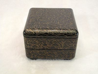 FINE DETAIL Japanese 3 Part Lacquer Box PINE NEEDLE Red Interior KANJI Signed