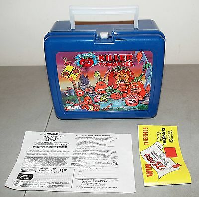 """New!! NOS!! Vtg Thermos """"ATTACK OF THE KILLER TOMATOES"""" Plastic LUNCHBOX"""