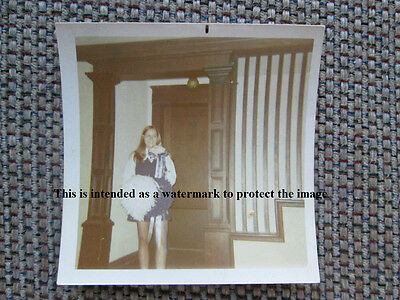 Vtg 60's Fashion Home Photo of Young College Cheer Leader Girl/Lady by Stairs H8