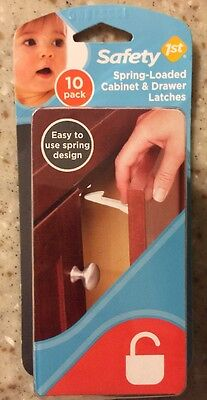 Safety 1st 10 Pack Spring-Loaded Cabinet & Drawer Latches Easy Use Spring Design