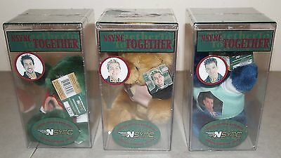 """New!! Sealed!! Vtg 3 """"NSYNC TOGETHER Teddy Bears"""" in Cases LOT (Joey, Lance, JC)"""