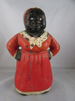 Antique & Rare Cast Iron Red Dressed Mammie With Hands On Hip Doorstop - Hubley