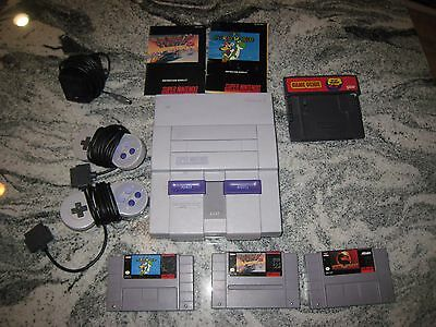 *TESTED & WORKING* Super Nintendo SNES + 2 Controllers, 3 Games, and Game Genie!