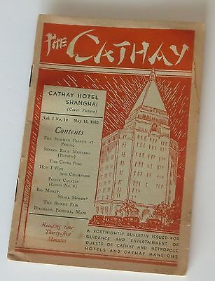 1932 The Cathay Hotel Shanghai China magazine for guests articles ads map