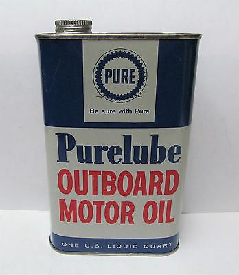 VINTAGE 1 QUART PURE PURELUBE OUTBOARD MOTOR OIL Advertising Metal Tin CAN NICE