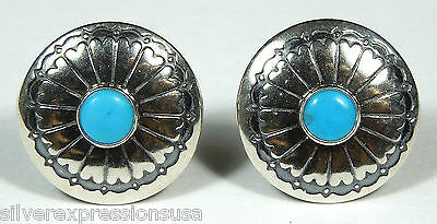 Blue Turquoise 925 Sterling Silver Concho Stud Earrings - Made in USA