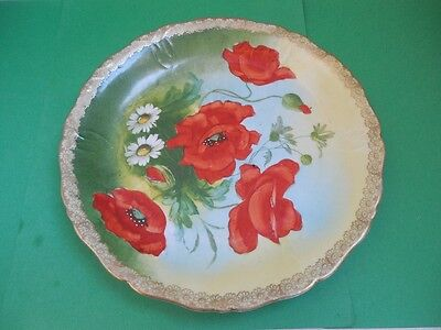 """Antique 1905 Prussia Poppy Hand Painted Plate 8,5"""" Excelent"""