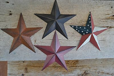 "Set of 4 ~ 8"" BURGUNDY RUSTY BLACK AMERICAN Flag BARN STAR Primitive Country"