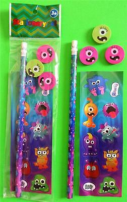 Bulk Lot x 20 MONSTERS 5 Pce Stationery Packs Boys Party Favors Novelty Toy NEW