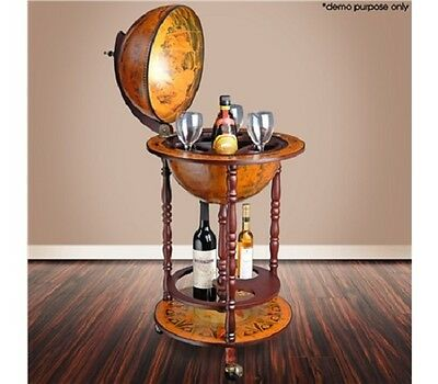NEW Handcrafted Antique Replica Fresco Interior Globe Bar Cabinet /Drink Trolley