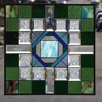 """•OUTSIDE the BOX • Beveled Stained Glass Window Panel • 20 1/2""""-20 1/2""""-(52cm)"""
