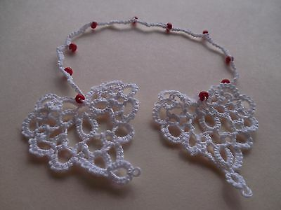 Tatted Bookmark Heart to Heart White Red Beads Lacey Tatting by Dove Country