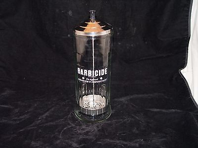 Vintage King Research BARBICIDE Barber Shop Disinfecting Jar FREE SHIPPING
