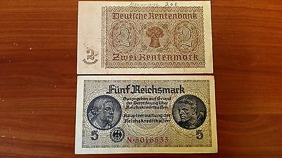 Germany WWII Nazi 2 and 5 Mark world paper money Great condition