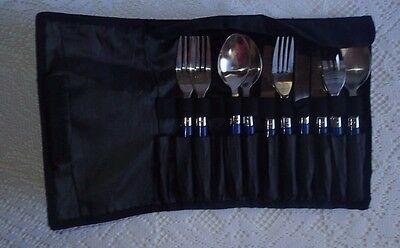 Coleman Camping Cutlery Set-Hiking-Travel-Picnic-Pouch-Forks-Knives-Australia