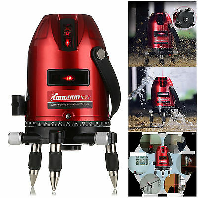 Red Automatic Self Leveling 5 Line 6 Point 4V1H Laser Level Measure Rotary Tool