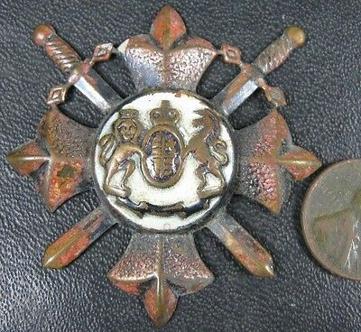 Antique Coat of Arms Cross Swards Pin Military?