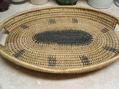 Vintage Hand Woven Wood Basket Tray