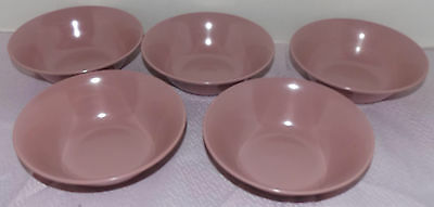 """Lot of 5 Texas Ware by PMC Quality Value Mauve Small Bowls Melamine 5 1/2"""""""