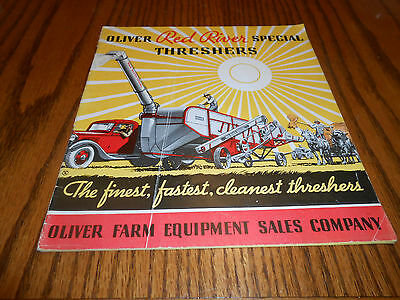 Vtg. 1930's OLIVER Red River Special Threshers Brochure Farm Tractor Plow Nice