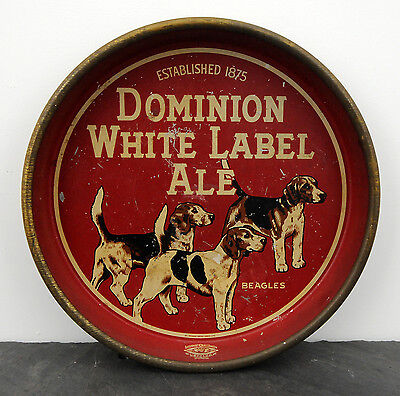 1940's Dominion White Label Ale Beagles Canadian Beer Advertising Serving Tray
