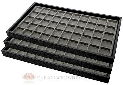 (3) Black Plastic Stackable Trays w/50 Compartments Gray Jewelry Display Insert