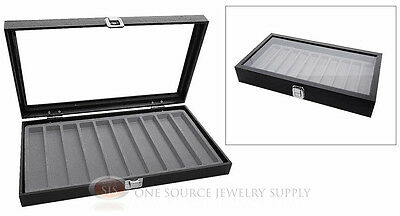Glass Top Jewelry Organizer Display Case 10 Slot Compartment Gray Insert Travel