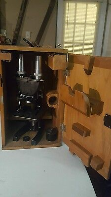 BAUSCH AND LOMB ANTIQUE  MICROSCOPE with  OBJECTIVES NOYES BROS CASE GREAT
