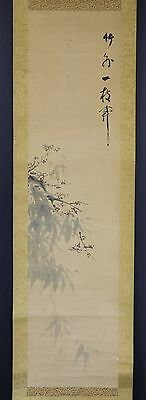 """JAPANESE HANGING SCROLL ART Painting """"Bamboo and Blossoms"""" Asian antique  #E3469"""