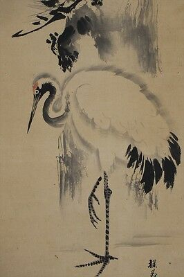 """JAPANESE HANGING SCROLL ART Painting """"Cranes"""" Asian antique  #E3465"""